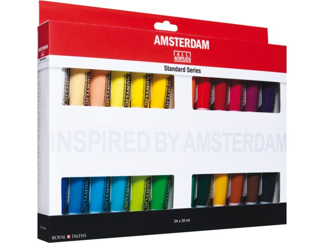 Amsterdam acrylverf set van 24 kleuren - general selection.  24x20ml