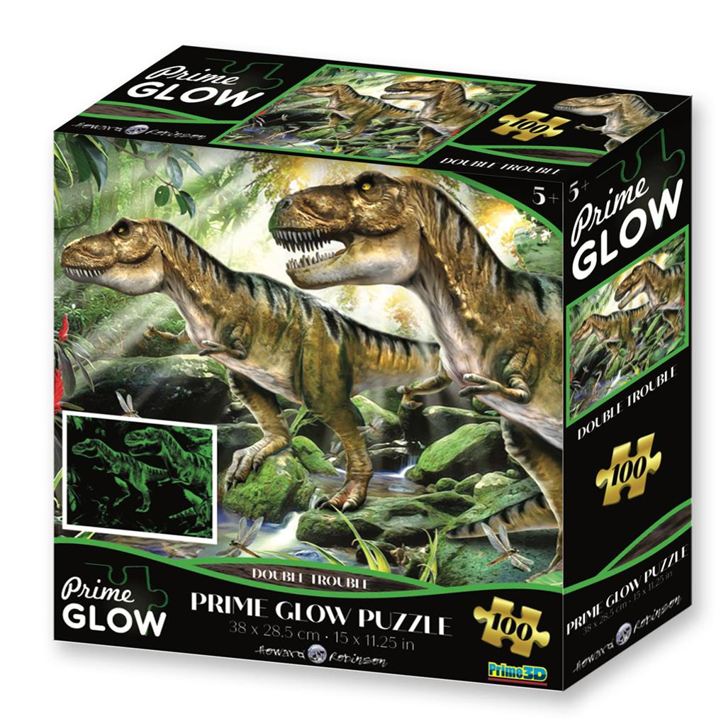 Puzzel glow in the dark dino's / 100stukjes