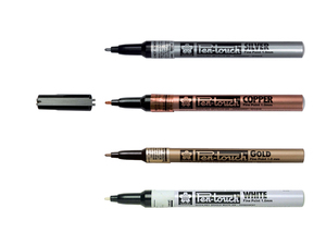 Pen touch metallic markers, set van 4: wit goud zilver en brons. punt van 1mm