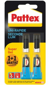 Lijm pattex secondenlijm 3gr super gel 1+1