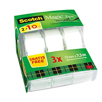 Magic tape scotch 3M  19mm x 7,5m op afroller  pak van 3