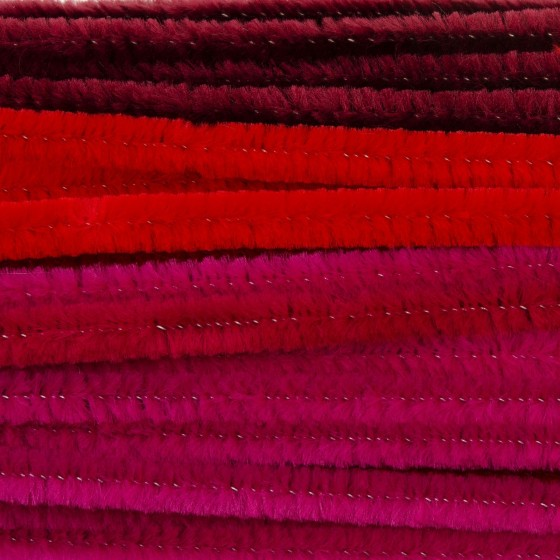 Chenille 8mm  30cm  rood mix